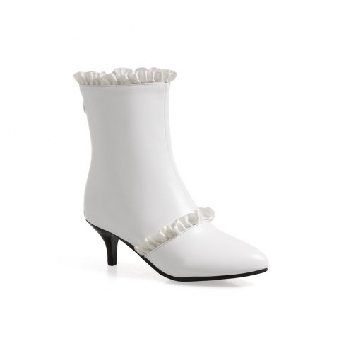 Miss Shoes A529 Spigot High Heels with Zipper Trendy Ankle Boots - WHITE 45