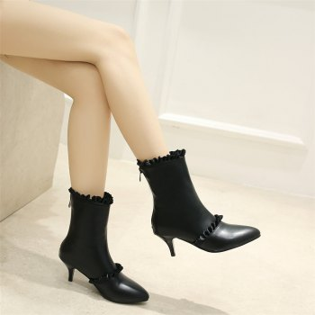 Miss Shoes A529 Spigot High Heels with Zipper Trendy Ankle Boots - BLACK 35