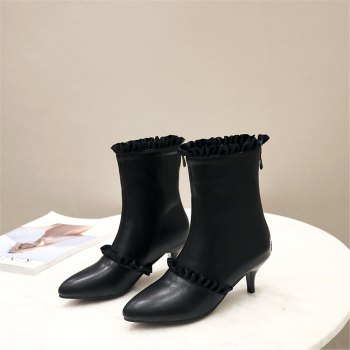 Miss Shoes A529 Spigot High Heels with Zipper Trendy Ankle Boots - BLACK 36