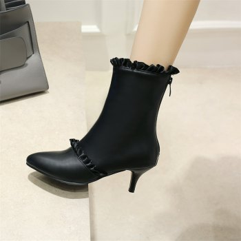 Miss Shoes A529 Spigot High Heels with Zipper Trendy Ankle Boots - BLACK 33