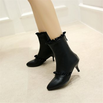 Miss Shoes A529 Spigot High Heels with Zipper Trendy Ankle Boots - BLACK 34