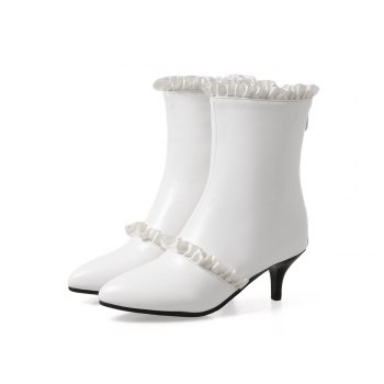 Miss Shoes A529 Spigot High Heels with Zipper Trendy Ankle Boots - WHITE 43