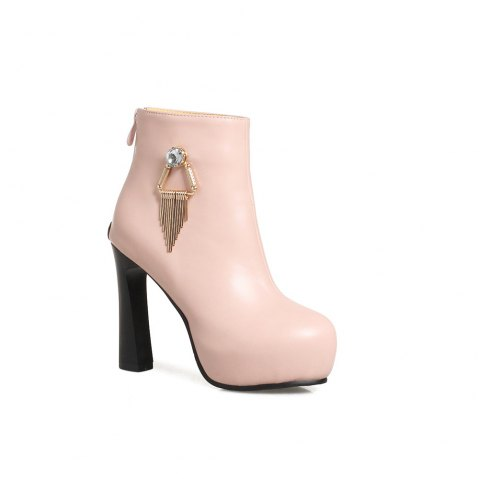 Miss Shoe A-21 Round Head Thick with Sexy Zipper and Ankle Boot - PINK 38