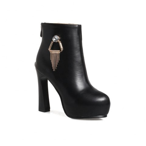 Miss Shoe A-21 Round Head Thick with Sexy Zipper and Ankle Boot - BLACK 37
