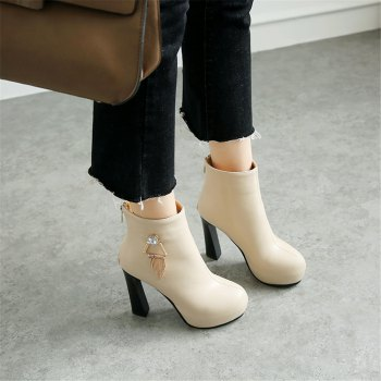Miss Shoe A-21 Round Head Thick with Sexy Zipper and Ankle Boot - APRICOT 35