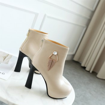 Miss Shoe A-21 Round Head Thick with Sexy Zipper and Ankle Boot - APRICOT 36