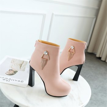 Miss Shoe A-21 Round Head Thick with Sexy Zipper and Ankle Boot - PINK 40