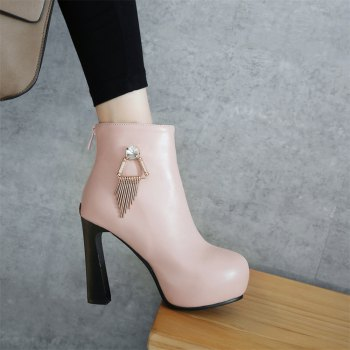 Miss Shoe A-21 Round Head Thick with Sexy Zipper and Ankle Boot - PINK 37