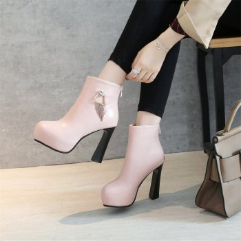 Miss Shoe A-21 Round Head Thick with Sexy Zipper and Ankle Boot - PINK 35