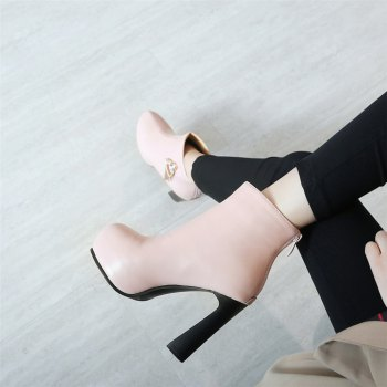 Miss Shoe A-21 Round Head Thick with Sexy Zipper and Ankle Boot - PINK 36