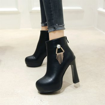 Miss Shoe A-21 Round Head Thick with Sexy Zipper and Ankle Boot - BLACK 43