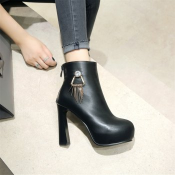 Miss Shoe A-21 Round Head Thick with Sexy Zipper and Ankle Boot - BLACK 40