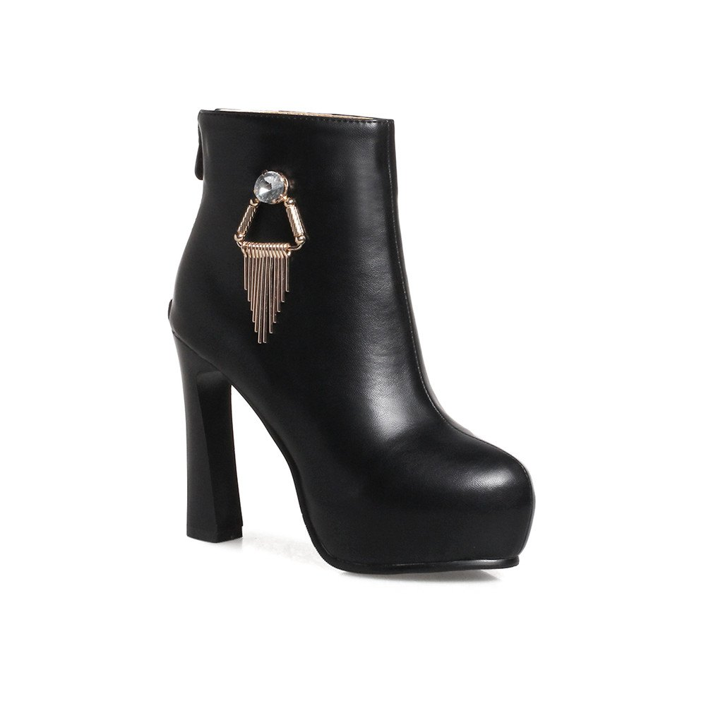 Miss Shoe A-21 Round Head Thick with Sexy Zipper and Ankle Boot - BLACK 39