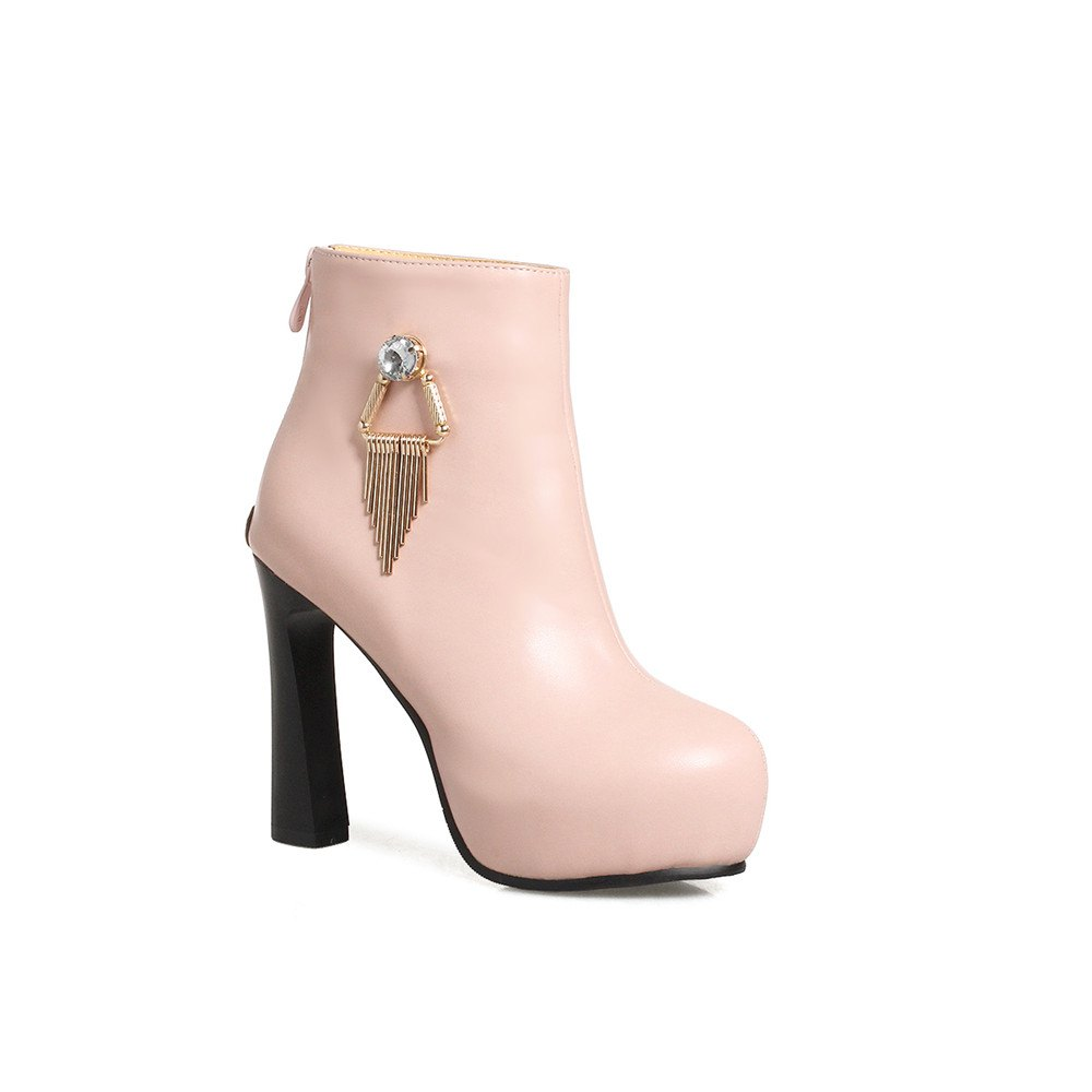Miss Shoe A-21 Round Head Thick with Sexy Zipper and Ankle Boot - PINK 33