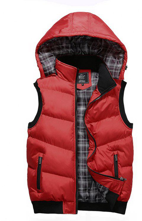 Winter Men'S Vest Sleeveless Cotton Coat - RED 4XL