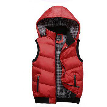 Winter Men'S Vest Sleeveless Cotton Coat - RED RED