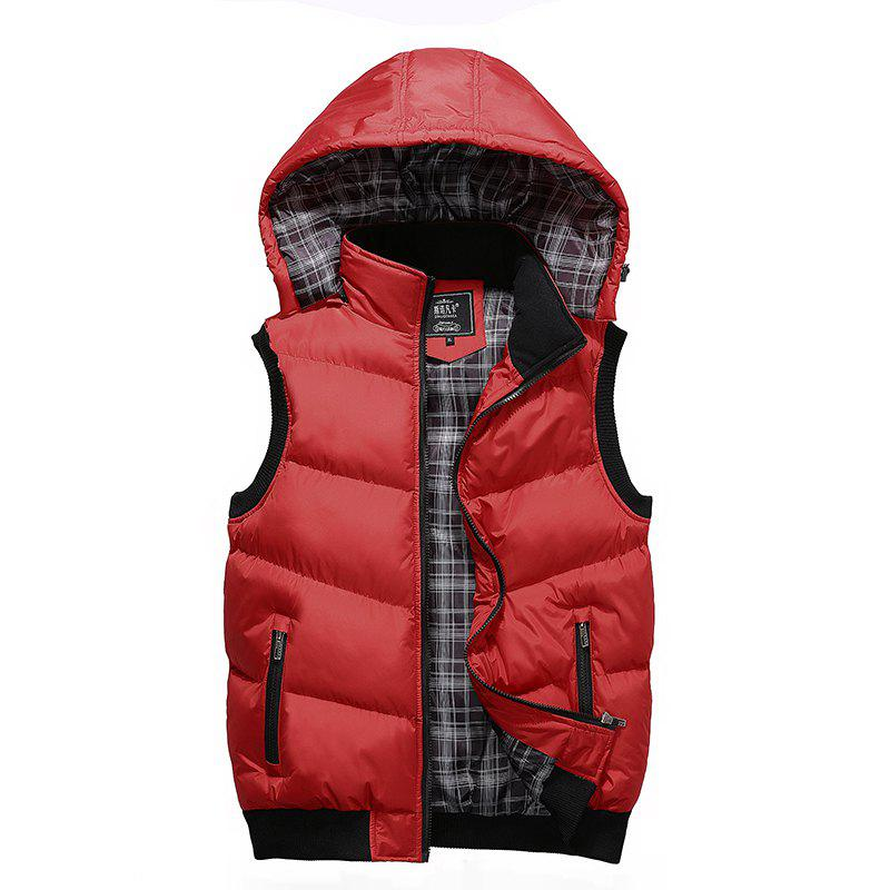 Winter Men'S Vest Sleeveless Cotton Coat - RED XL