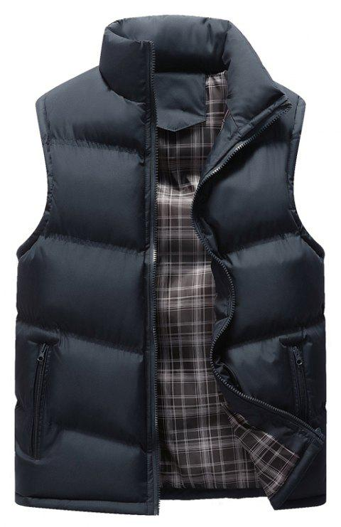 Autumn and Winter Men'S Casual Jacket Collar Vest - BLUE 3XL