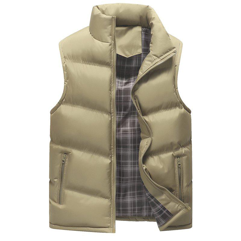 Autumn and Winter Men'S Casual Jacket Collar Vest - KHAKI M