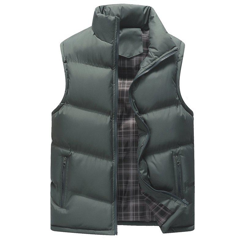 Autumn and Winter Men'S Casual Jacket Collar Vest - GRAY M