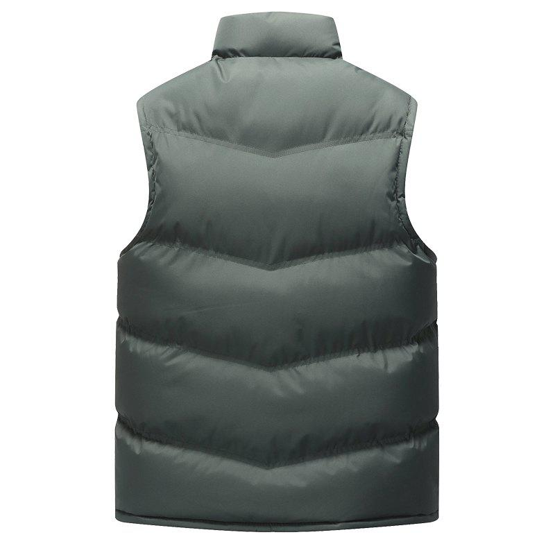 Autumn and Winter Men'S Casual Jacket Collar Vest - GRAY 2XL
