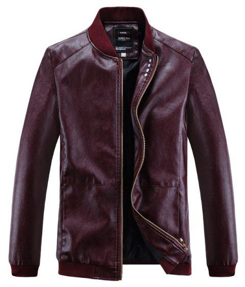 Autumn and Winter Men'S Leather Casual Coats - BURGUNDY 2XL