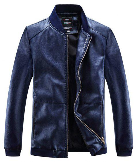 Autumn and Winter Men'S Leather Casual Coats - DEEP BLUE L