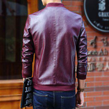 Autumn and Winter Men'S Leather Casual Coats - BURGUNDY L