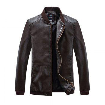 Autumn and Winter Men'S Leather Casual Coats - COFFEE COFFEE