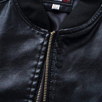 Autumn and Winter Men'S Leather Casual Coats - BLACK 3XL