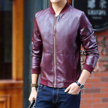 Autumn and Winter Men'S Leather Casual Coats - BURGUNDY 4XL