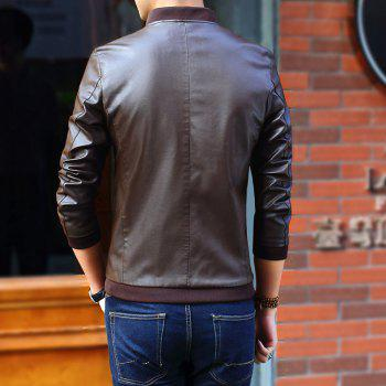 Autumn and Winter Men'S Leather Casual Coats - COFFEE XL