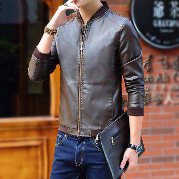 Autumn and Winter Men'S Leather Casual Coats - COFFEE M