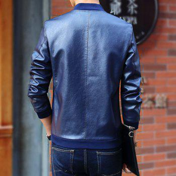 Autumn and Winter Men'S Leather Casual Coats - DEEP BLUE M