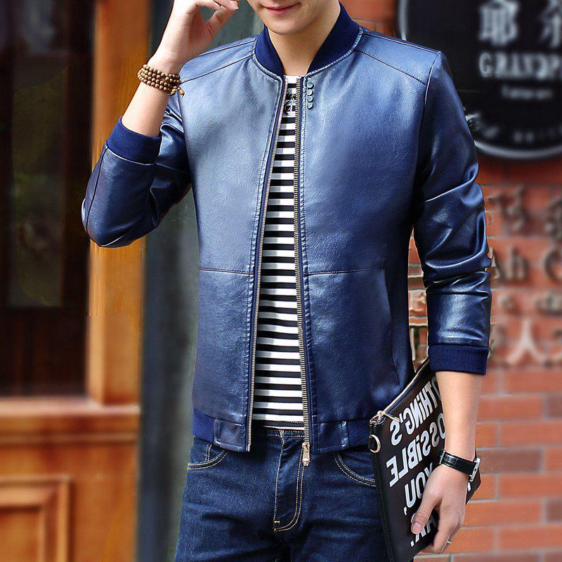 Autumn and Winter Men'S Leather Casual Coats - DEEP BLUE 2XL