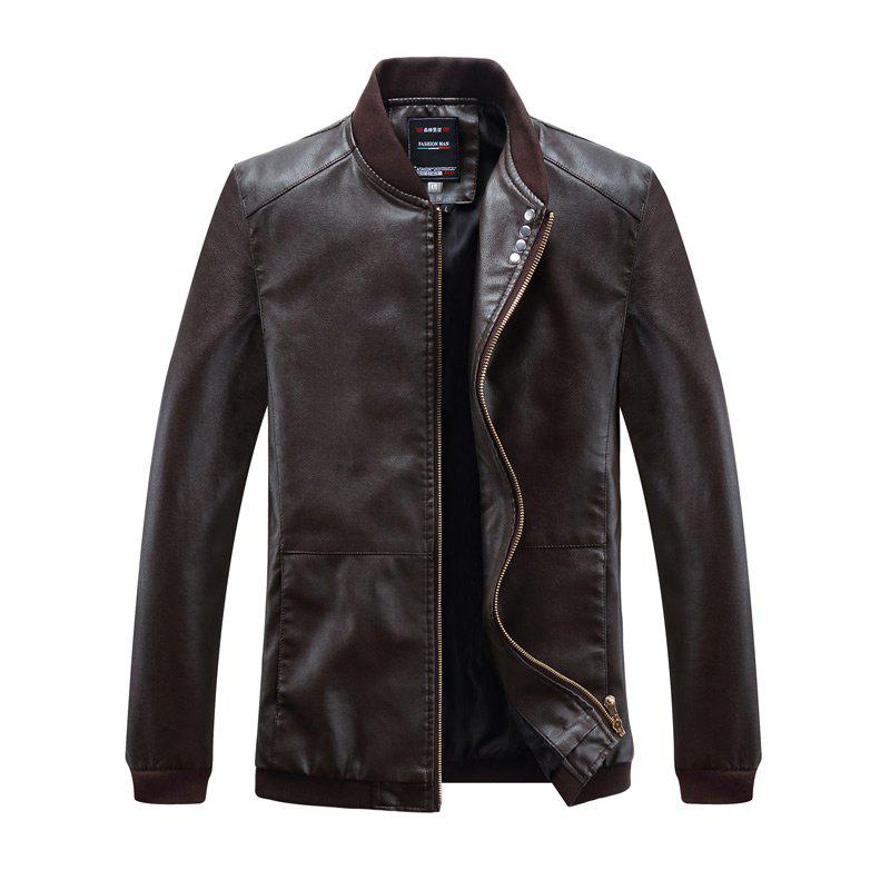 Autumn and Winter Men'S Leather Casual Coats - COFFEE L