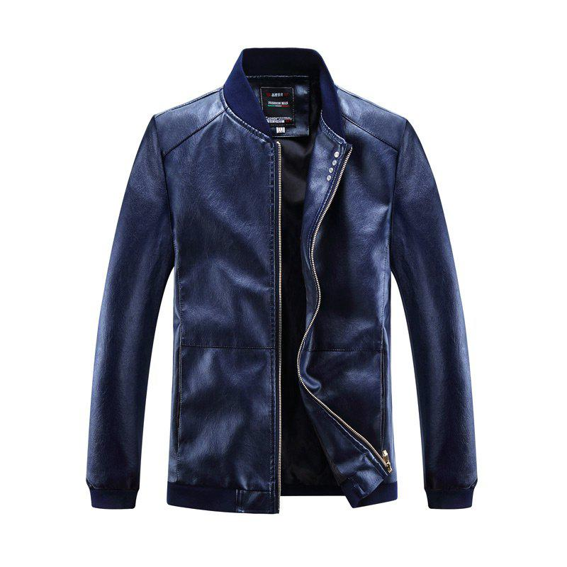 Autumn and Winter Men'S Leather Casual Coats - DEEP BLUE 4XL