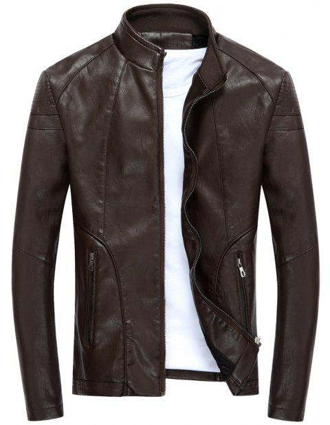 Autumn and Winter Men'S Leather Collar and Cashmere Coat - COFFEE L