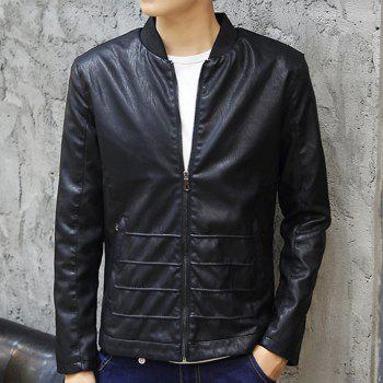 PU Leather Jacket for Men in Autumn and Winter - BLACK L