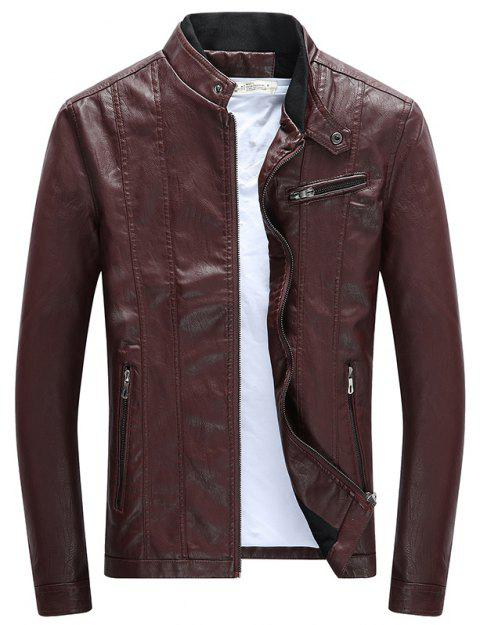 Men'S Leather Collar Fall Jacket - CLARET XL