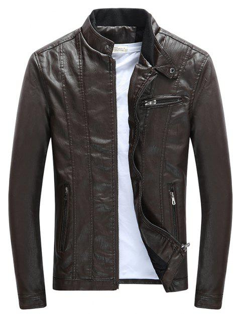 Men'S Leather Collar Fall Jacket - COFFEE 2XL