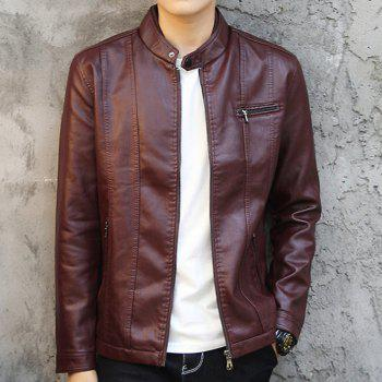 Men'S Leather Collar Fall Jacket - CLARET 3XL