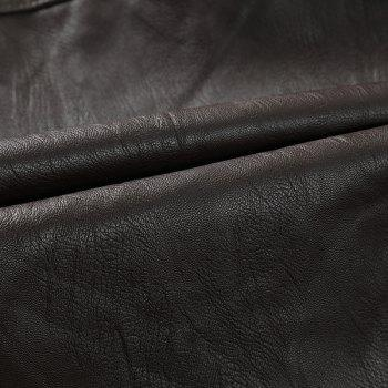 Men'S Leather Collar Fall Jacket - COFFEE XL