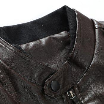 Men'S Leather Collar Fall Jacket - COFFEE M