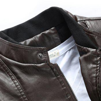 Men'S Leather Collar Fall Jacket - COFFEE L