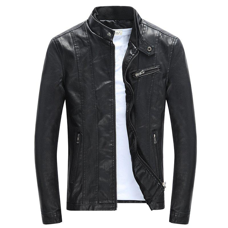 Men'S Leather Collar Fall Jacket - BLACK L