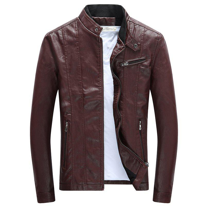 Men'S Leather Collar Fall Jacket - CLARET L