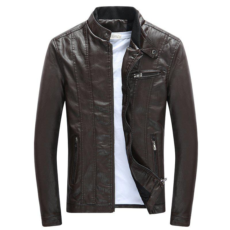 Men'S Leather Collar Fall Jacket - COFFEE 3XL