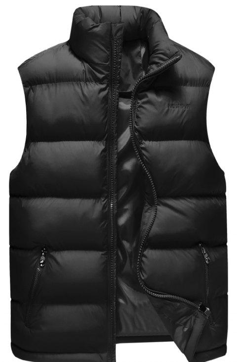 Men'S Winter Coat Collar Fashion Color Vest - BLACK M