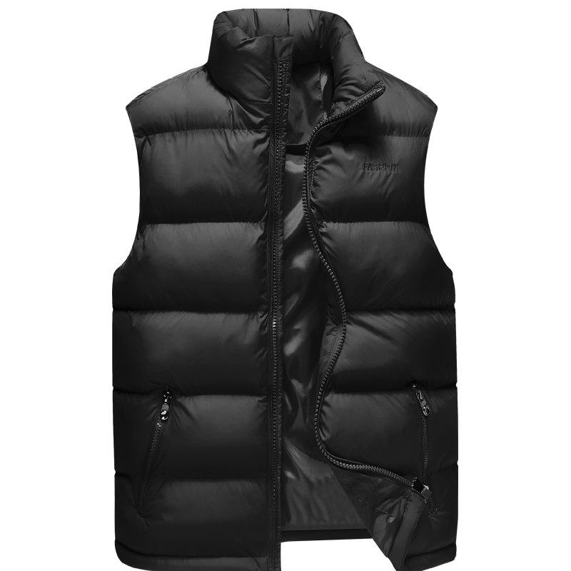 Men'S Winter Coat Collar Fashion Color Vest - BLACK 2XL